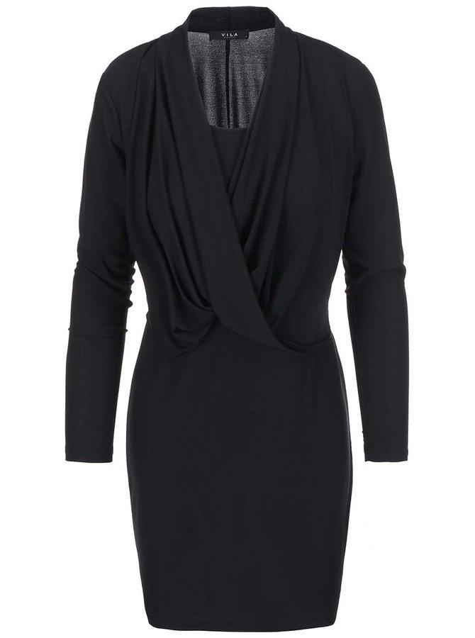 Čierne šaty s dlhým rukávom VILA Summary