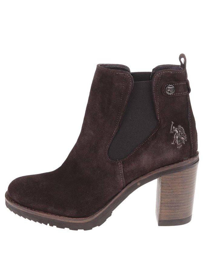 Hnědé kožené kotníkové boty na podpatku U.S. Polo Assn. Mia