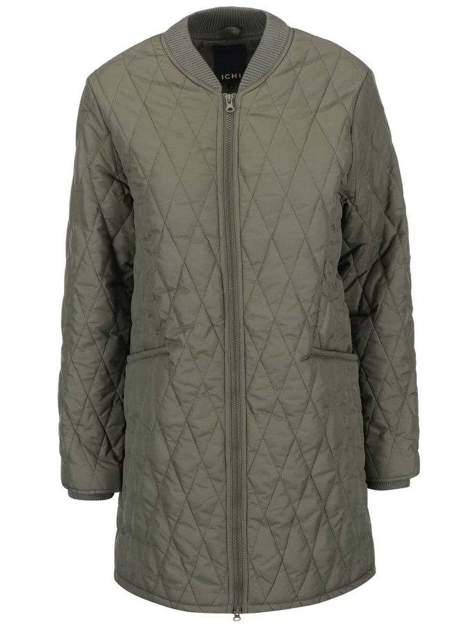 Jachetă lungă matlasată ICHI Tia - kaki