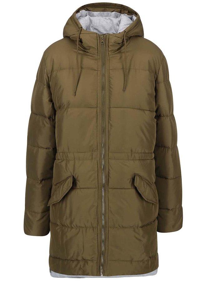 Kaki dlhší prešívaný kabát ICHI Sisk