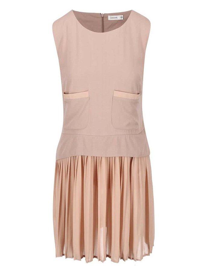 Ružové šaty s plisovanou sukňou Lavand