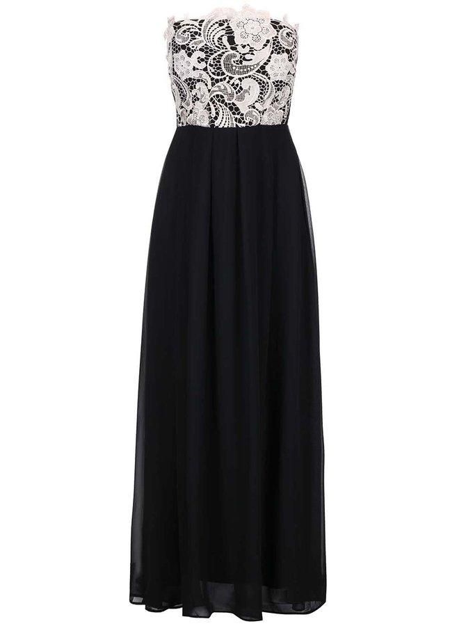 Rochie lungă AX PARIS - dantelă neagră cu crem