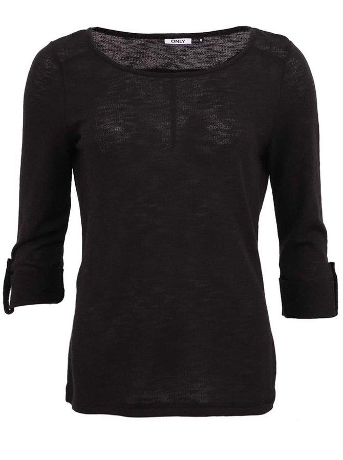 Bluză  neagră ONLY Jess cu manșete îndoite