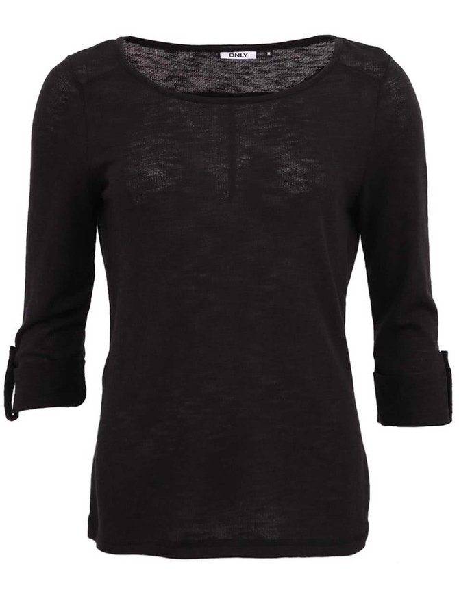 Čierne tričko s 3/4 rukávom ONLY Jess