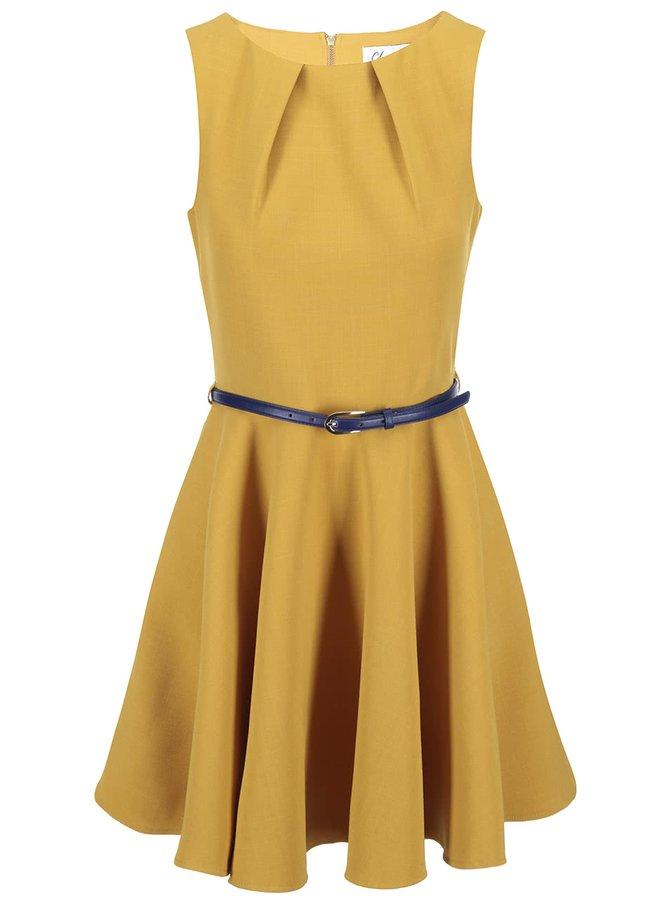 Žluté šaty s modrým páskem Closet