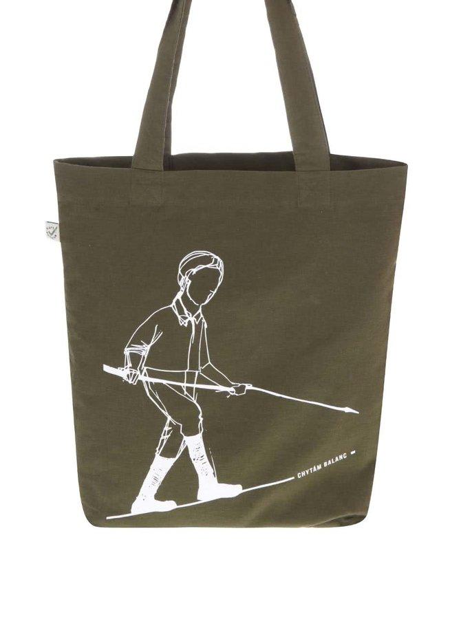 """""""Dobrá"""" zelená taška s potlačou pre Green Doors"""