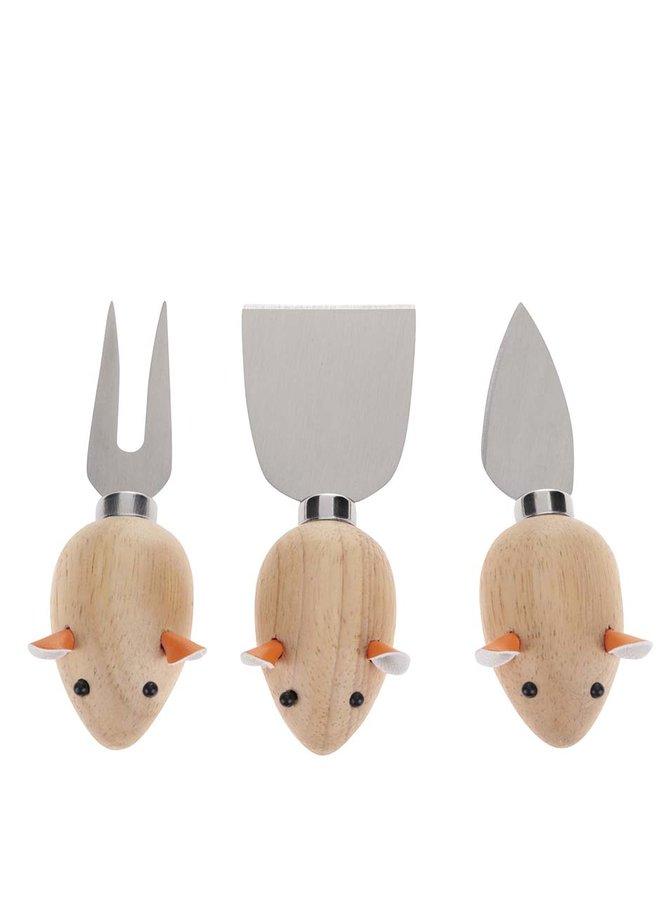 Třídílný set na přípravu sýrů ve tvaru myší Kikkerland