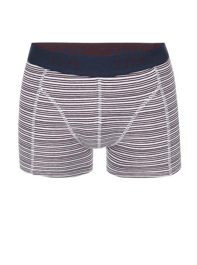 Vínovo-krémové boxerky s pruhmi Jack & Jones Thin