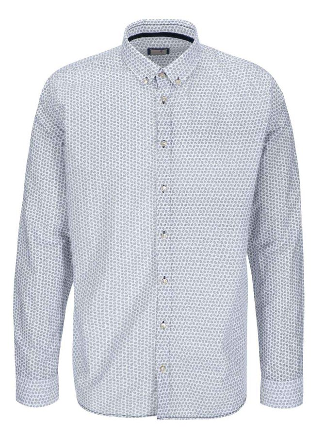Krémovo-modrá vzorovaná košile Seidensticker Jerry BD