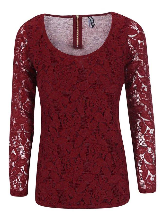 Vínové krajkované tričko s dlouhým rukávem Haily´s Hazel