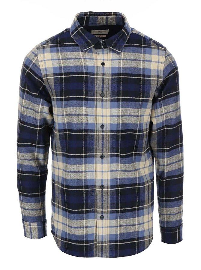 Modro-béžová pánska kockovaná košeľa Selected Georg