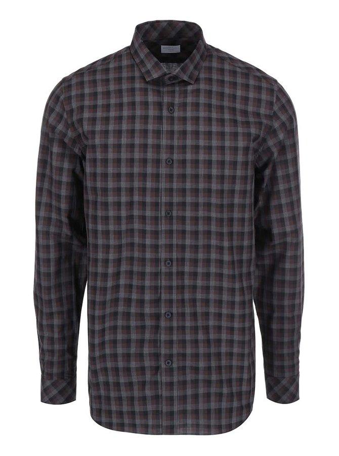 Sivo-hnedá kockovaná košeľa Selected Homme James