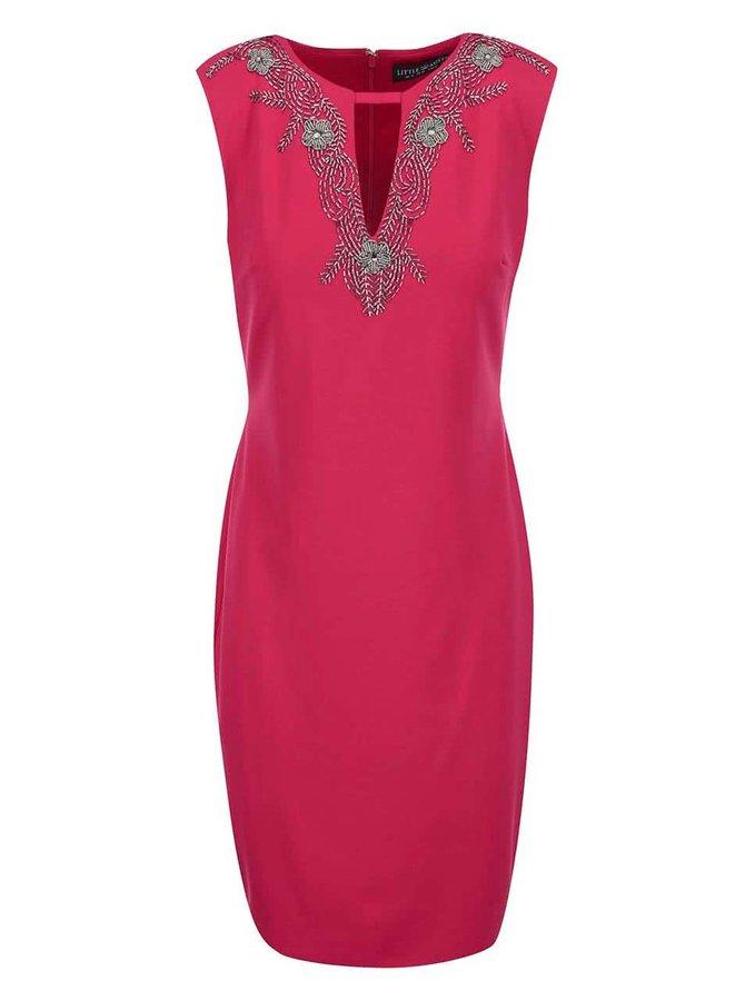 Růžové šaty se zdobeným dekoltem Little Mistress