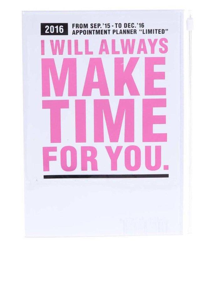 Biely diár A5 2016 s ružovým nápisom Mark's Make Time