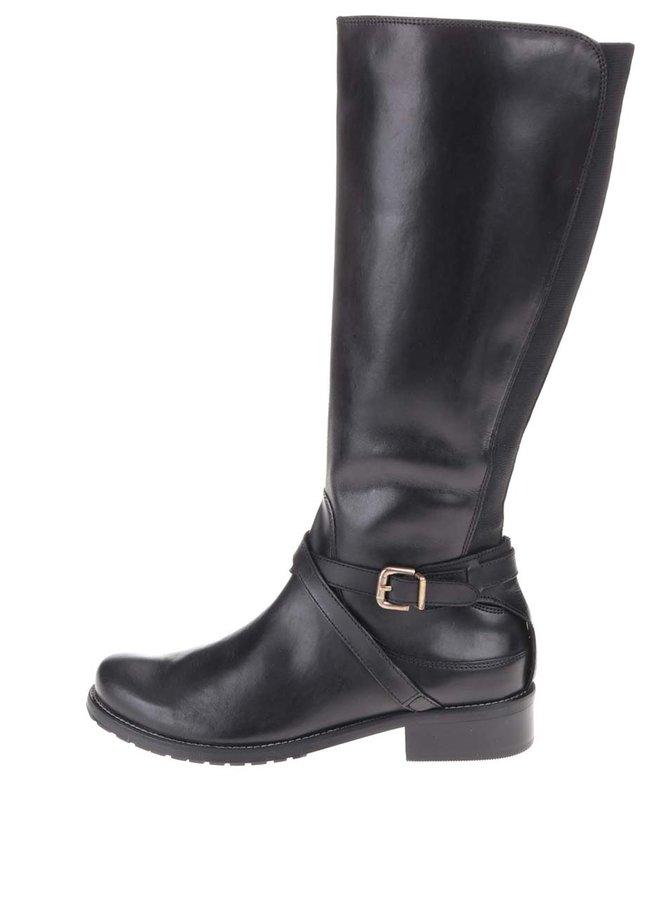 Čierne kožené čižmy s prackou Clarks Nessa Clare