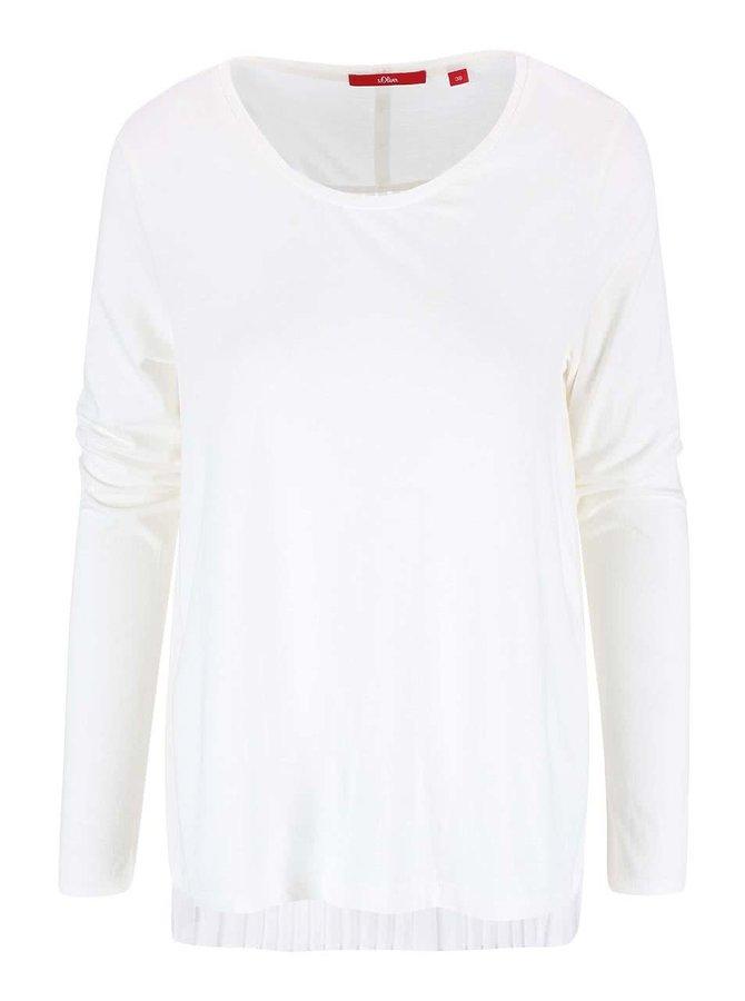 Krémové dámske tričko s plisovaným chrbtom s.Oliver