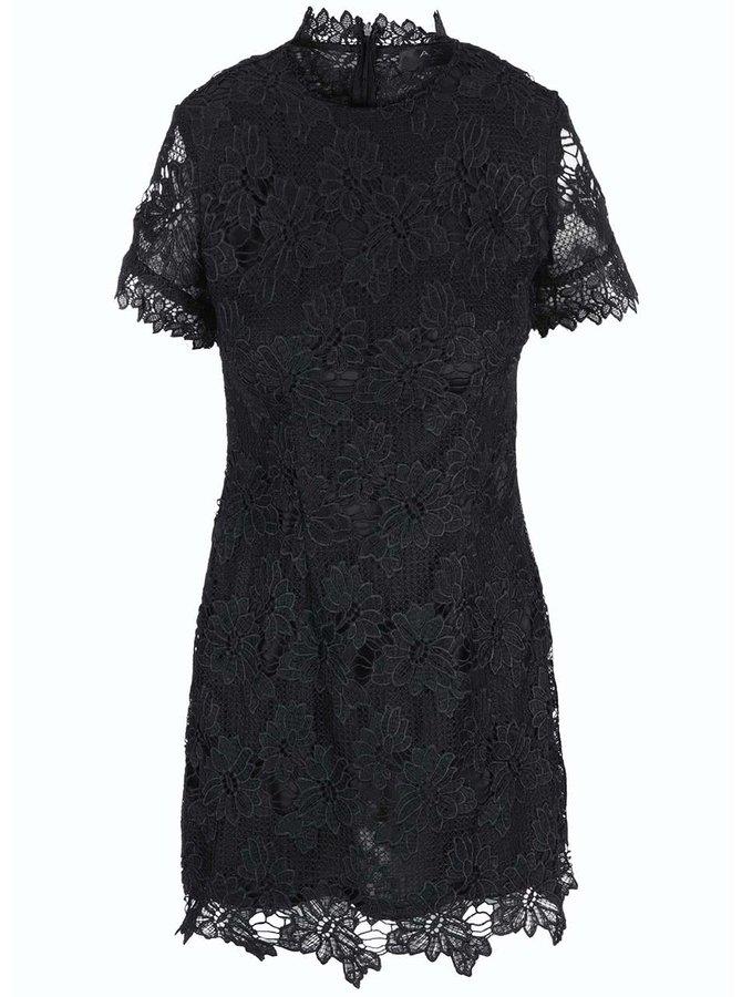 Černé krajkové šaty s krátkým rukávem AX Paris