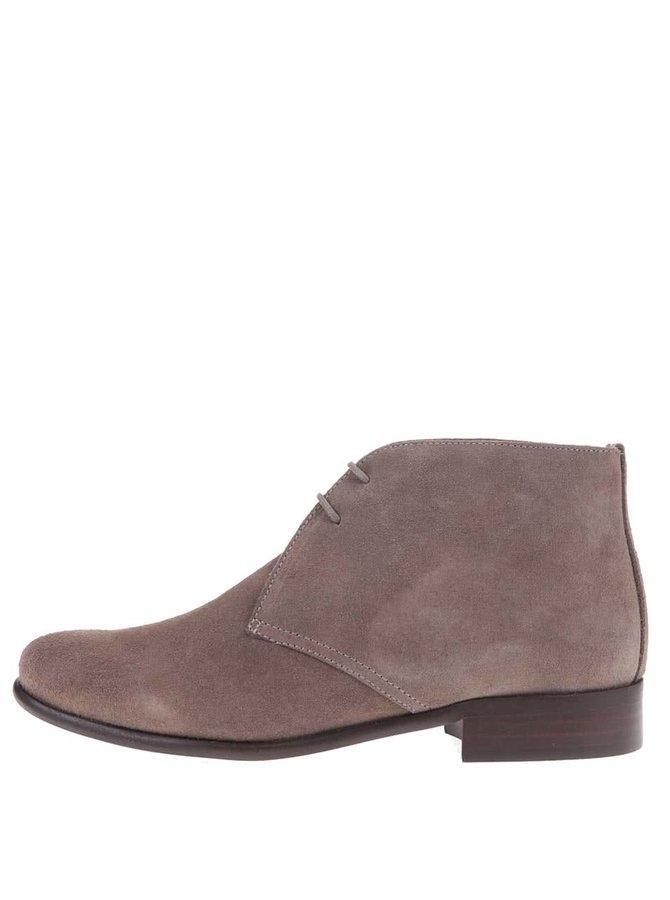 Sivo-hnedé kožené členkové topánky so semišovou úpravou OJJU