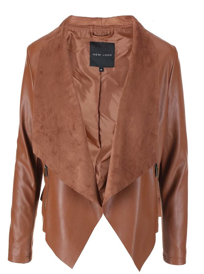 Hnedý koženkový blejzer New Look