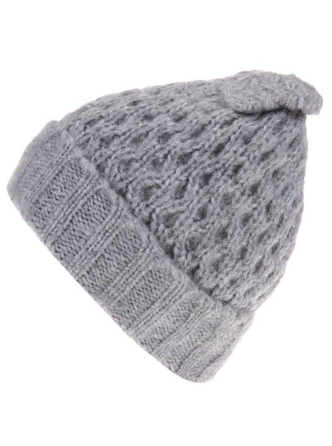 Sivá pletená čapica s mašľou Pieces Victorine