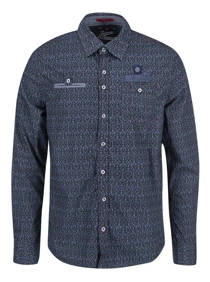 Modrá vzorovaná regular fit košeľa Twinlife