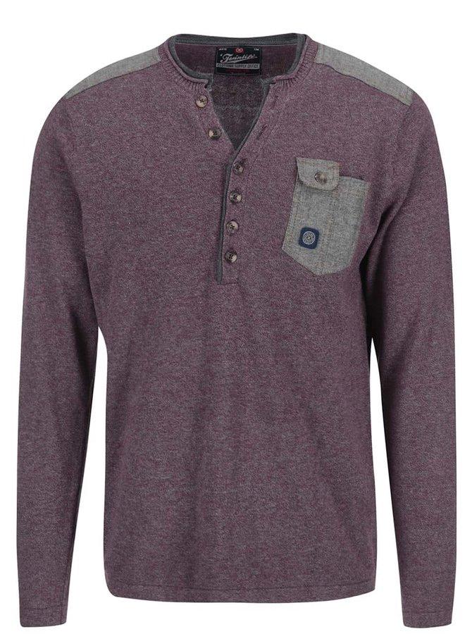 Vínový žíhaný sveter s gombíkmi pri krku Twinlife