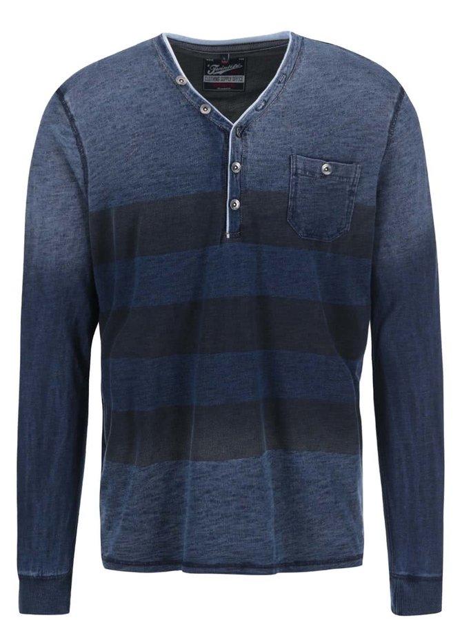 Modré žíhané tričko s tmavými pruhmi Twinlife