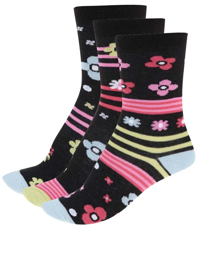 Sada tří dámských ponožek v černé barvě se vzorem Oddsocks Zingy