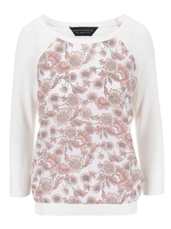 Bílý svetr s květinovým potiskem Dorothy Perkins