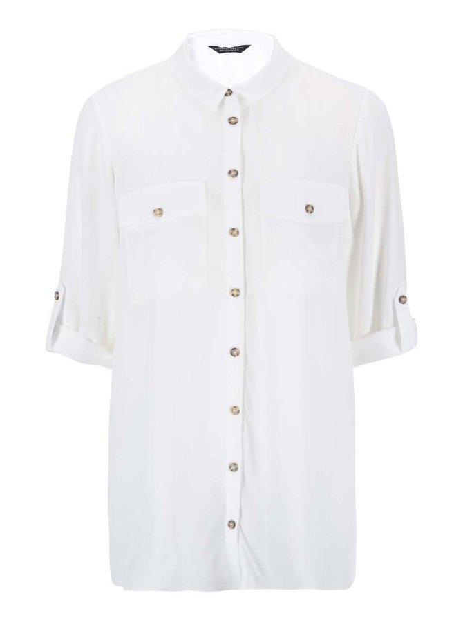 Bílá dlouhá košile s 3/4 rukávem Dorothy Perkins