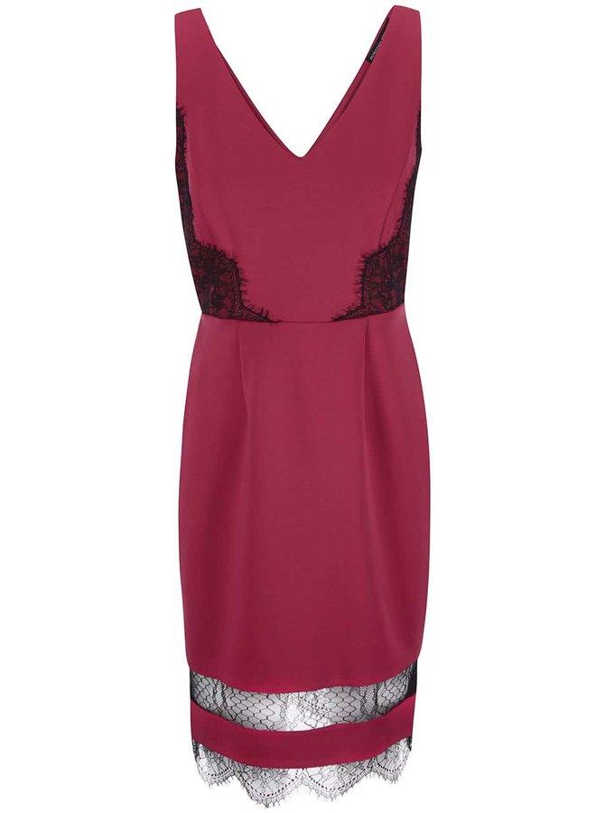 Tmavoružové šaty s ozdobnou čipkou Dorothy Perkins