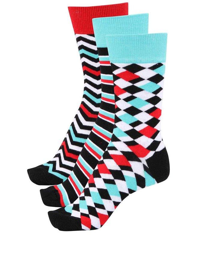 Súprava troch farebných pánskych ponožiek so vzorom Oddsocks Adam