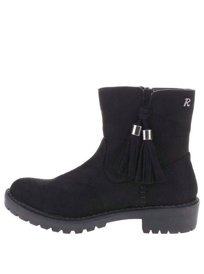 Černé kotníkové boty se střapcem Refresh