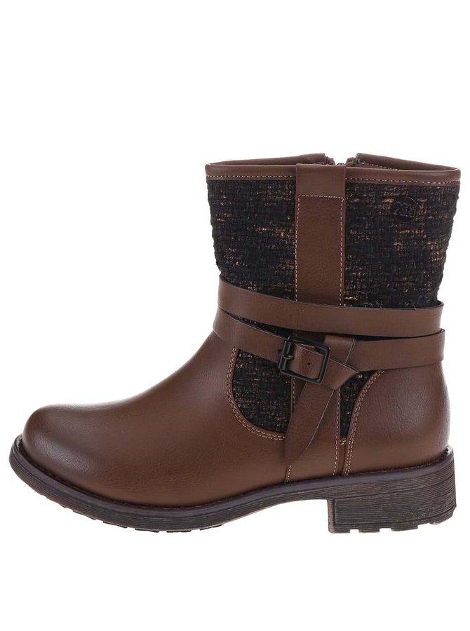 Hnědé vyšší boty s flitry Xti