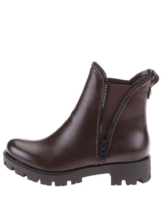 Hnědé kotníkové boty s ozdobným zipem Refresh