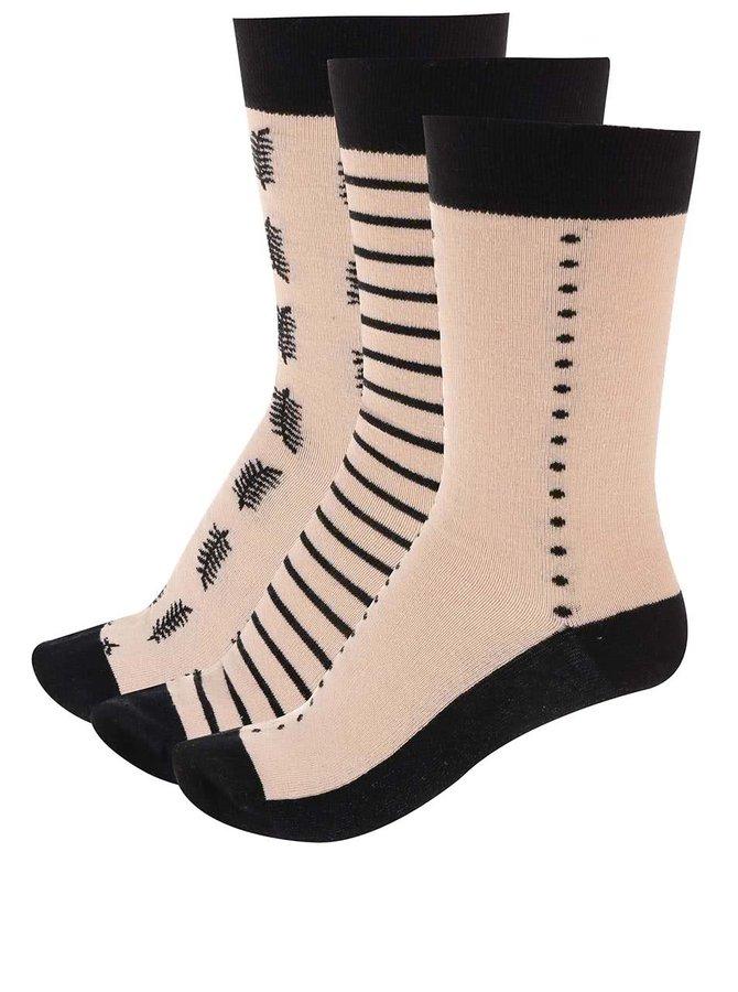 Tri páry čierno-krémových ponožiek OJJU