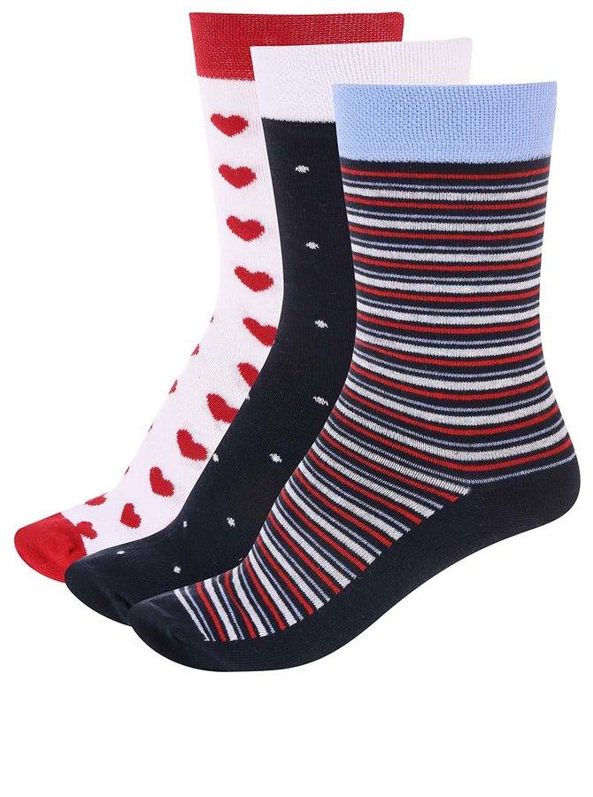 Barevné ponožky s pruhy, puntíky a srdíčky v sadě tří párů OJJU