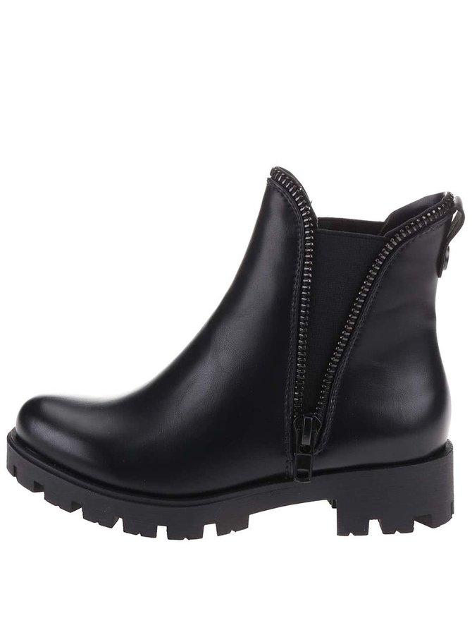 Čierne členkové topánky s ozdobným zipsom Xti