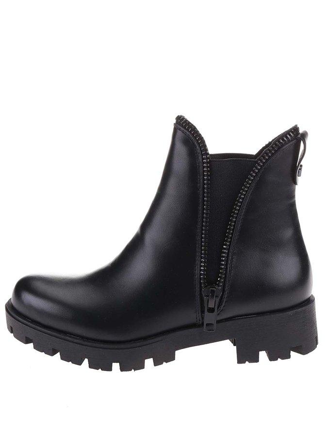 Čierne členkové topánky s ozdobným zipsom Refresh