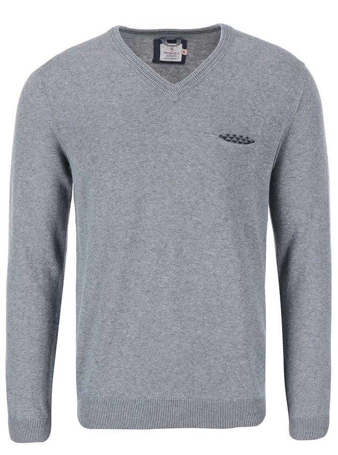 "Sivý sveter s výstrihom do ""V"" Dstrezzed"