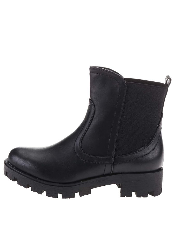 Černé kotníkové boty s pružným dílem Xti