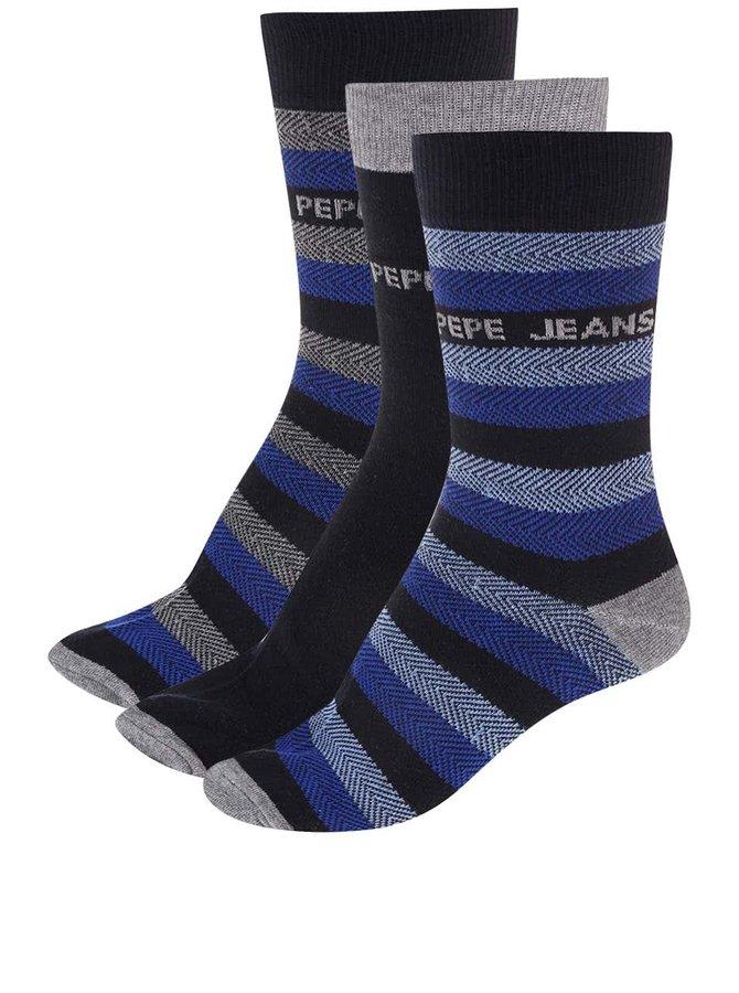 Set de trei perechi de ciorapi - gri și albastru Pepe Jeans Kenley