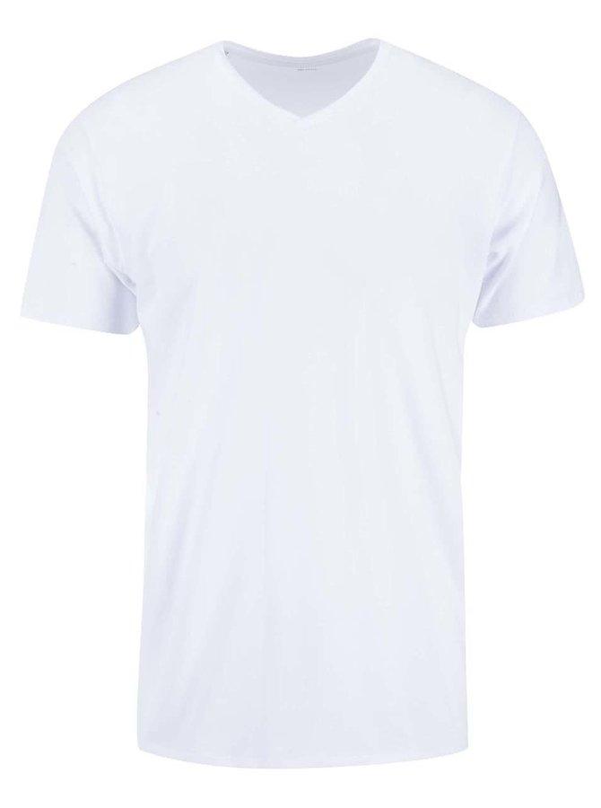 Tricou alb cu decolteu în V Pima de la Selected Homme