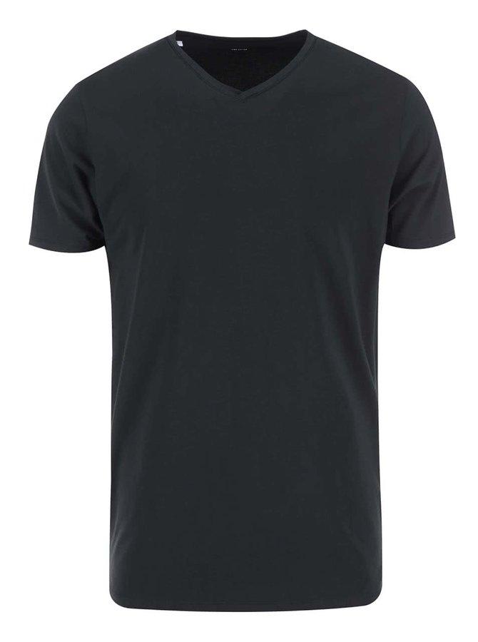 Černé tričko s véčkovým výstřihem Selected Homme Pima