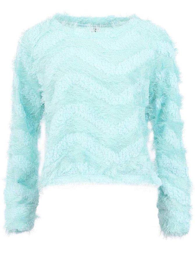 Mentolový chlpatý sveter VERO MODA Hairy