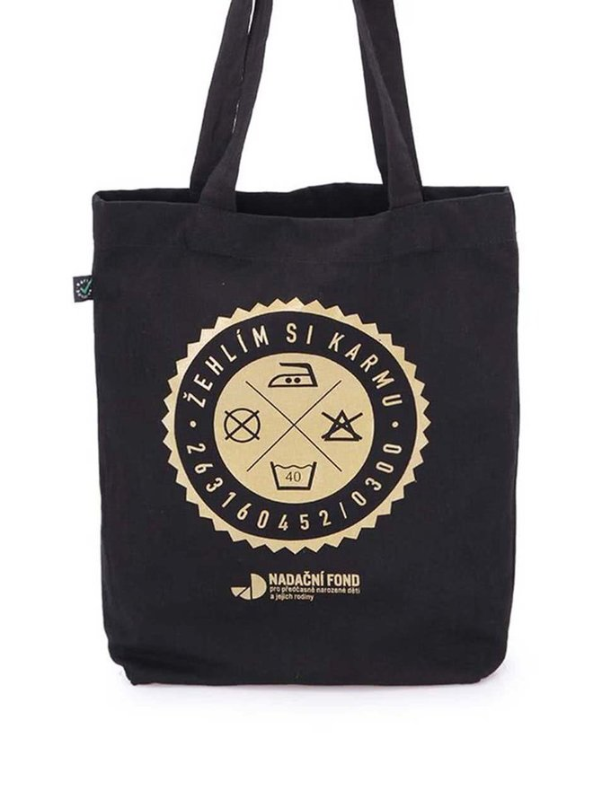 """""""Dobrá"""" zlato-čierna unisex taška pre Nadačný fond pre predčasne narodené deti a ich rodiny"""