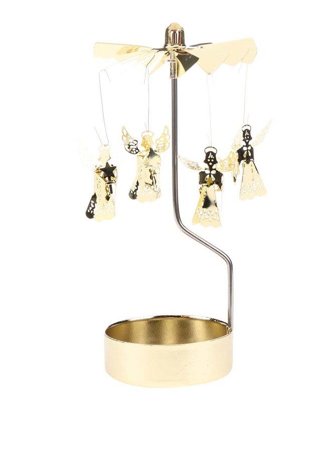 Krútiaci svietnik v zlatej farbe Sass & Belle Rotary Angel