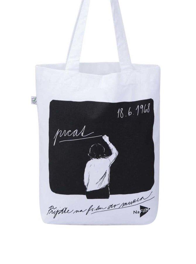"""""""Dobrá"""" bílá plátěná taška pro NaFilM Prcat"""