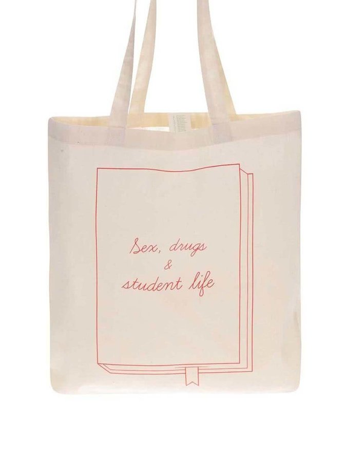 Krémová plátenná taška ZOOT Lokál Sex, drugs & student life