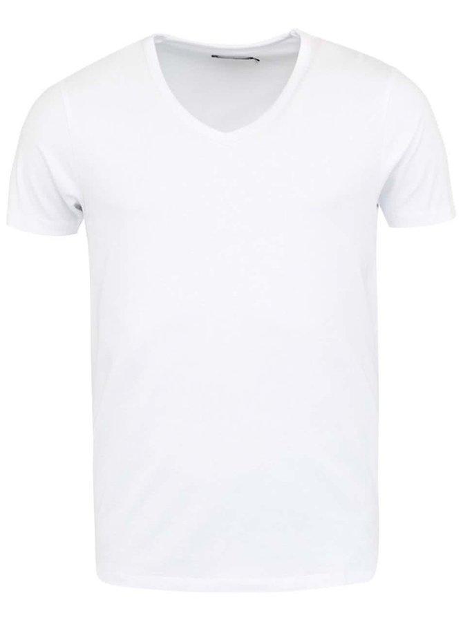 Bílé triko s véčkovým výstřihem Jack & Jones Basic